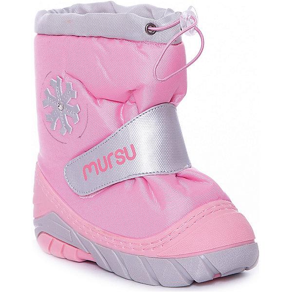 Сноубутсы для девочки MURSUОбувь<br>Сапоги для девочки от известного финского бренда MURSU - прекрасный вариант на холодную погоду. Модель на рифленой подошве дополнена застежкой-липучкой, декорирована снежинкой. Мягкое голенище затягивается на шнурок с пластиковым стопором. Сапоги выполнены из высококачественных материалов, отлично защищают ноги ребенка от холода и влаги. Идеальный вариант для наших погодных условий. <br><br>Дополнительная информация:<br><br>- Сезон: осень/зима.<br>- Температурный режим: от -5? до -20?<br>- Тип застежки: липучка, шнурок.<br>- Рифленая подошва. <br>- декоративные элементы: снежинка. <br><br>Состав:<br><br>- Материал верха: текстиль / PU.<br>- Материал подкладки: натуральная шерсть.<br>- Материал подошвы: TPR.<br>- Материал стельки: натуральная шерсть.<br><br>Сапоги для девочки, MURSU (Мурсу), можно купить в нашем магазине.<br>Ширина мм: 257; Глубина мм: 180; Высота мм: 130; Вес г: 420; Цвет: розовый; Возраст от месяцев: 24; Возраст до месяцев: 36; Пол: Женский; Возраст: Детский; Размер: 25/26,23/24,19/20,21/22; SKU: 4202374;