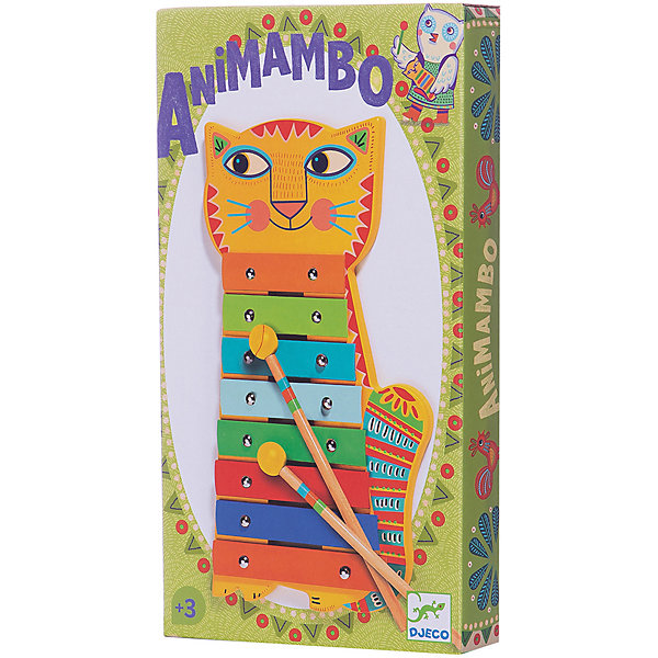 Металлофон Кот, DJECOКсилофоны<br>Чудесный красочный металлофон Кот, Djeco (Джеко), непременно понравится Вашему ребенку и поможет ему развить свои музыкальные способности. Металлофон выполнен в виде забавного кота с веселой мордочкой и туловищем из 8 разноцветных клавиш. В комплект также входят 2 палочки, с помощью которых ребенок будет создавать различные музыкальные композиции. Игрушка изготовлена из безопасных высококачественных материалов. Игра на металлофоне прекрасно развивает музыкальный слух, творческие способности, координацию движений и мелкую моторику ребенка.<br><br>Дополнительная информация:<br><br>- Материал: дерево, металл.<br>- Размер игрушки: 14,1 x 26,8 x 2,5 см.<br>- Размер упаковки: 14,5 х 27,5 х 2,8 см.<br>- Вес: 0,425 кг. <br><br>Металлофон Кот, Djeco (Джеко), можно ,купить в нашем интернет-магазине.