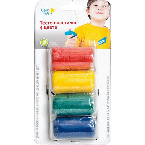 Genio Kids Набор для детского творчества Тесто-пластилин, 4 цвета genio kids набор для детского творчества котик