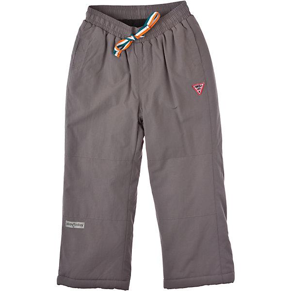 Брюки для мальчика PlayTodayБрюки<br>Брюки для мальчика PlayToday Утепленные брюки на холодную погоду. Флисовая подкладка вверху изделия, и нейлоновая к низу, что обеспечивает легкое одевание. Пояс - на резинке, с завязками. Состав: Верх: 100% нейлон, подкладка: 100% полиэстер, наполнитель: 100% полиэстер<br>Ширина мм: 215; Глубина мм: 88; Высота мм: 191; Вес г: 336; Цвет: серый; Возраст от месяцев: 36; Возраст до месяцев: 48; Пол: Мужской; Возраст: Детский; Размер: 104,110,128,122,98,116; SKU: 4227533;