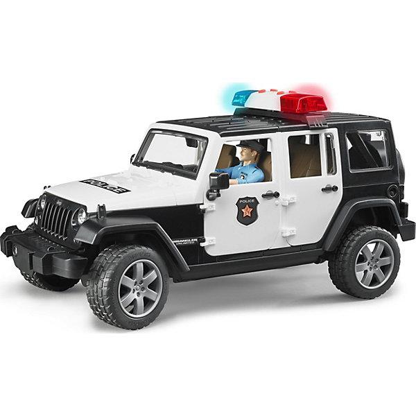 Фото - Bruder Внедорожник Jeep Wrangler Полиция с фигуркой, Bruder внедорожник bruder jeep cross counrty racer 02 541 29 см голубой