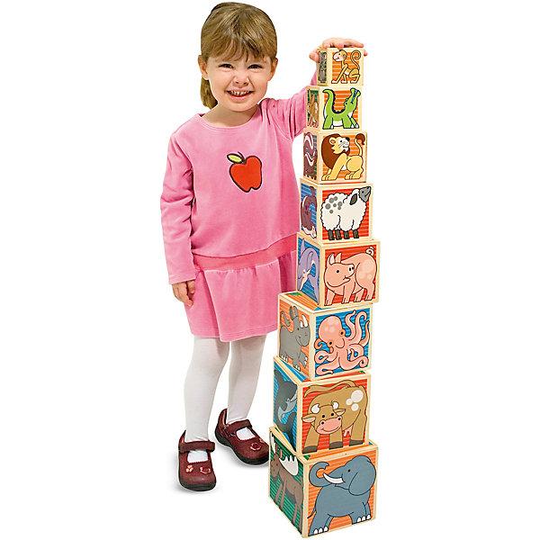 Деревянные кубики Животные, Melissa &amp; DougРазвивающие игрушки<br>В набор Деревянные кубики Животные, Melissa &amp; Doug (Мелисса и Даг) входит 8 разноразмерных кубиков, на гранях которых нарисованы различные животные. Все изображения делятся на 4 группы: жители леса (зеленый фон), африканские животные (коричневый фон), морские обитатели (синий фон), домашние фермерские животные (красный фон). Кубики можно сложить в один, а можно построить пирамиду высотой более 80 см! Игра с кубиками данного набора способствует общему развитию, творческому мышлению и развитию мелкой моторики.<br><br>Дополнительная информация:<br>-Материалы: дерево, прессованный картон, ПВХ<br>-Вес в упаковке: 1087 г<br>-Размеры в упаковке: 14х14х14 см<br><br>С помощью этих деревянных кубиков Ваш ребенок познакомится с разными животными и их средой обитания, а также получит массу удовольствия от игры!<br><br>Деревянные кубики Животные, Melissa &amp; Doug (Мелисса и Даг) можно купить в нашем магазине.<br>Ширина мм: 140; Глубина мм: 140; Высота мм: 140; Вес г: 1087; Возраст от месяцев: 24; Возраст до месяцев: 60; Пол: Унисекс; Возраст: Детский; SKU: 4235400;