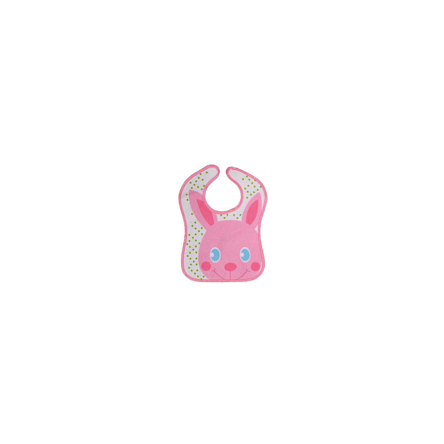 Нагрудник махровый Зайка Sevi baby, розовый (Sevi Baby)