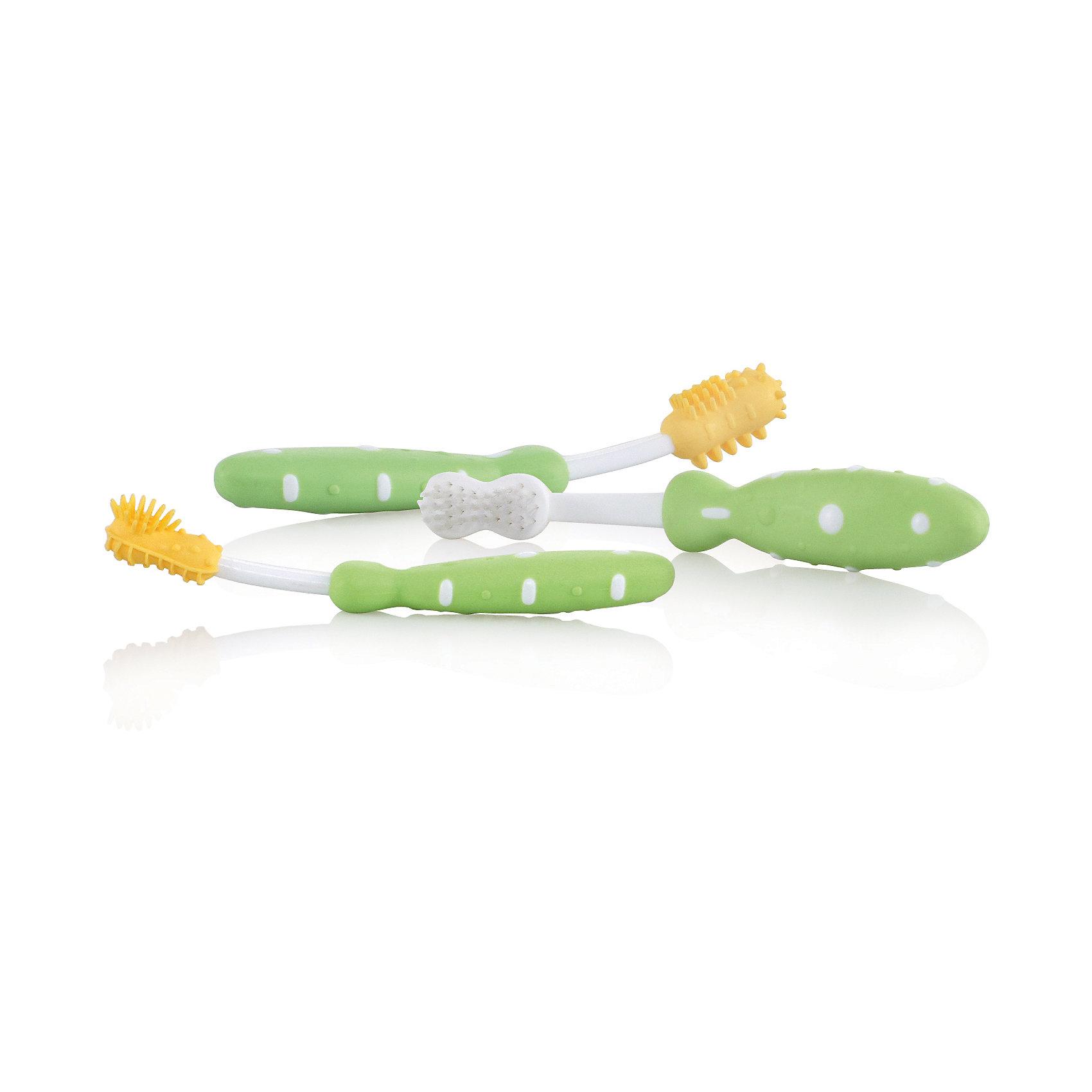 Набор зубных щеток, от 7 мес., Nuby, зеленый