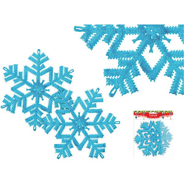 TUKZAR Набор пластиковых украшений Снежинки с блестками, 2 шт, TUKZAR