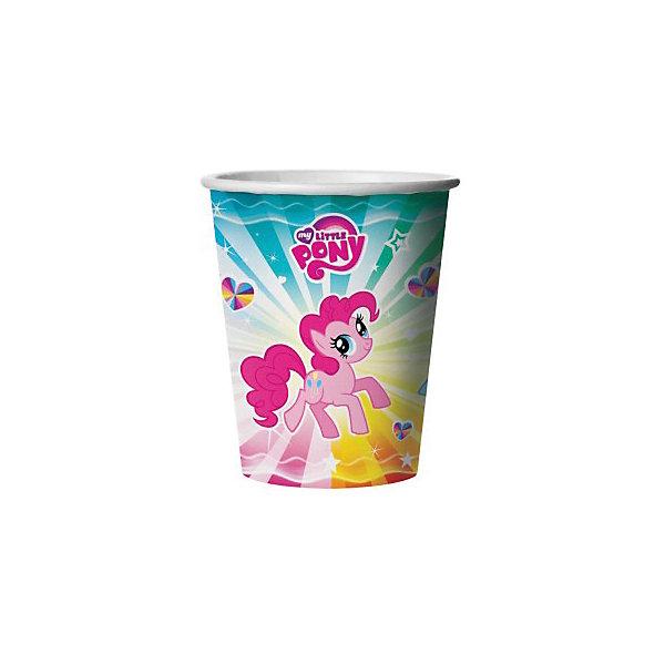 Веселый праздник Стакан бумажный My little pony, 6 шт набор свечей my little pony с держатетелем 6 см 24 шт