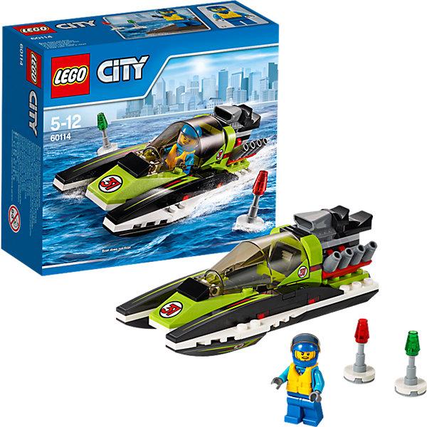 LEGO City 60114: Гоночный катерLEGO<br>LEGO City (ЛЕГО Сити) 60114: Гоночный катер станет прекрасным подарком для юных любителей конструирования. Заводи мотор Гоночного катера и готовься к большой гонке! Мчись по воде как можно быстрее, но следи за тем, чтобы не вылететь за буйки. Обтекаемый корпус катера состоит из чёрно-зеленых деталей и украшен наклейками. В центральной части модели находится кабина водителя с вытянутым лобовым стеклом, сиденьем и рулем. В передней части с обеих сторон расположены полозья, выполняющие функцию поплавков. Мощный мотор на корме катера обеспечивает ему высокую скорость и победу в гонках. В комплект также входят два буйка и минифигурка гонщика.  <br><br>Серия конструкторов  LEGO City позволяет почувствовать себя инженером и архитектором, строителем или мэром города. Вы можете создавать свой город мечты, развивать городскую инфраструктуру, строить дороги и здания, управлять городским хозяйством и следить за порядком.<br>В игровых наборах с разнообразными сюжетами много интересных персонажей, оригинальных объектов и городской техники. Это уникальная возможность для ребенка развивать фантазию и логическое мышление, узнавать и осваивать разные профессии.<br><br>Дополнительная информация:<br><br>- Игра с конструктором LEGO (ЛЕГО) развивает мелкую моторику ребенка, фантазию и воображение, учит его усидчивости и внимательности.<br>- Количество деталей: 95.<br>- Количество минифигур: 1.<br>- Серия: LEGO City (ЛЕГО Сити).<br>- Материал: пластик.<br>- Размер собранного катера: 5 х 13 х 6 см.<br>- Размер упаковки: 15,5 х 6 х 14 см.<br>- Вес: 0,16 кг.<br><br>LEGO City (ЛЕГО Сити) 60114: Гоночный катер можно купить в нашем интернет-магазине.<br>Ширина мм: 160; Глубина мм: 142; Высота мм: 63; Вес г: 162; Возраст от месяцев: 60; Возраст до месяцев: 144; Пол: Мужской; Возраст: Детский; SKU: 4259102;
