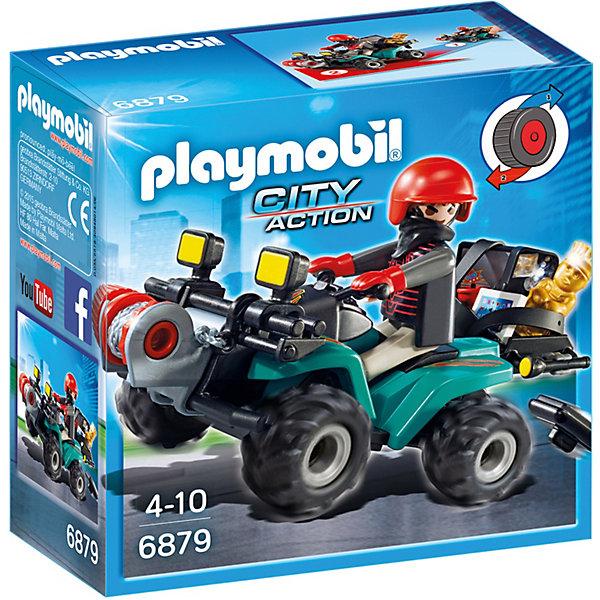 PLAYMOBIL® Конструктор Playmobil Полиция Квадроцикл Грабителя с награбленным playmobil игровой набор трактор с прицепом