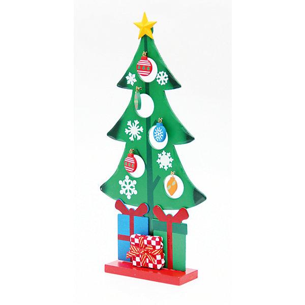 Деревянное украшение Рождественская ёлочка 28 смНовогодние сувениры<br>Деревянное украшение Рождественская ёлочка, Феникс-презент, замечательно украсит Ваш интерьер и станет приятным сувениром для родных и друзей. Украшение выполнено в виде зеленой новогодней елочки на подставке и разрисовано изображениями снежинок. Верхушку<br>елочки украшает желтая звезда. В елке имеются круглые отверстия с небольшими металлическими крючками, на которые можно повесить деревянные елочные игрушки, входящие в комплект. Симпатичная елочка порадует и взрослых и детей и создаст волшебную атмосферу<br>новогодних праздников. <br><br><br>Дополнительная информация:<br><br>- Материал: древесина тополя.<br>- Высота елки: 28 см.<br>- Размер подставки: 9,5 х 3,5 см.<br>- Размер упаковки: 29 x 18 x 3 см.<br><br>Деревянное украшение Рождественская ёлочка, Феникс-презент, можно купить в нашем интернет-магазине.