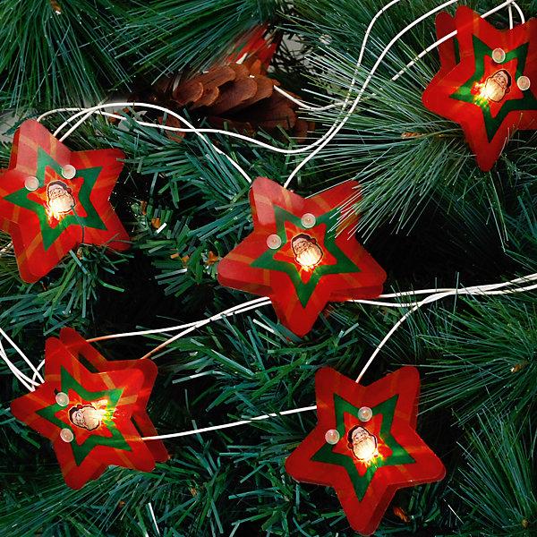 Электрогирлянда Звезда 250 см, 16 лампНовогодние электрогирлянды<br>Электрогирлянда Звезда, Феникс-презент, станет замечательным украшением Вашей новогодней елки или интерьера и поможет создать праздничную волшебную атмосферу. Красочная гирлянда состоит из 16 ламп в виде красных звездочек, украшенных изображением Деда Мороза, она будет чудесно смотреться на елке и радовать детей и взрослых. Имеется тумблер переключения режимов мигания огней (8 режимов). Мощность ламп - 30,7 Вт, работает от сети 220 В.<br><br><br>Дополнительная информация:<br><br>- Материал: ПВХ.<br>- Размер гирлянды: 250 см.<br>- Размер звезды: 7,5 х 5,5 х 2 см.  <br>- Размер упаковки: 2 x 19 x 27 см.<br>- Вес: 120 гр. <br><br>Электрогирлянду Звезда 250 см, 16 ламп, Феникс-презент, можно купить в нашем интернет-магазине.<br>Ширина мм: 20; Глубина мм: 190; Высота мм: 270; Вес г: 120; Возраст от месяцев: 36; Возраст до месяцев: 2147483647; Пол: Унисекс; Возраст: Детский; SKU: 4274731;