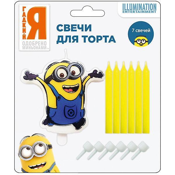 Росмэн Набор свечей Миньоны (1фигурная + 6шт * 6см) набор для аппликаций росмэн миньоны от 3 лет 27148