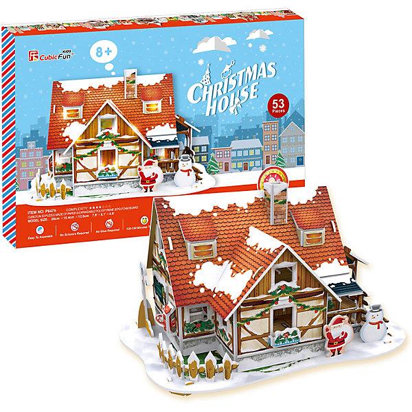 Купить Рождественский домик 1, с подсветкой, CubicFun, Китай, красный, Унисекс
