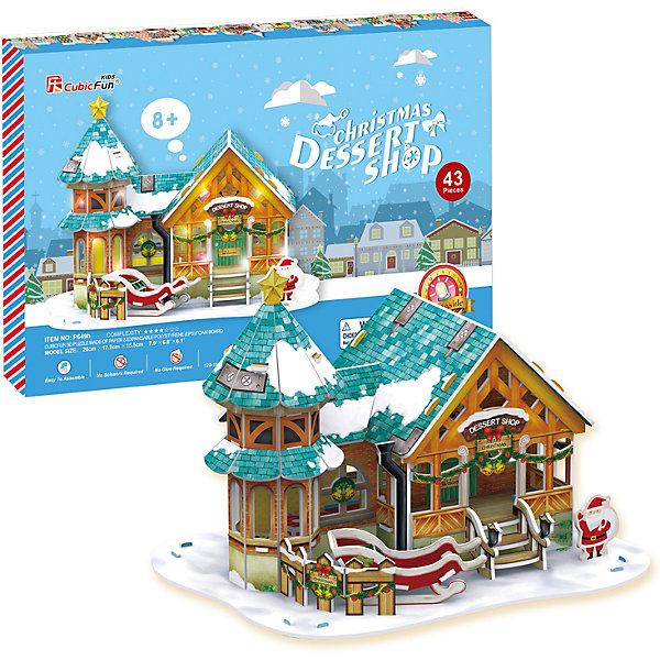 CubicFun Рождественский домик 3, с подсветкой, CubicFun 3d пазл с подсветкой рождественский коттедж 3 cubicfun