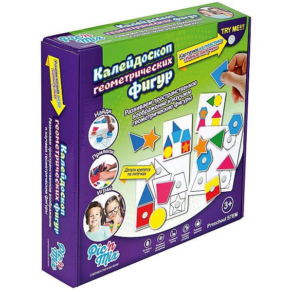 Калейдоскоп геометрических фигур, PicnMixПознаем мир<br>Обучающая игра пазл-липучка включает в себя 2 этапа и состоит из 6 игровых полей, используя которые, ребенок учится собирать  образы и изображения из нескольких геометрических фигур; на втором этапе, он составляет сложные геометрические фигуры совмещая простые. Игра развивает пространственное воображение; восприятие формы и цвета; зрительную память; творческие способности;  мелкую моторику рук.<br><br>Дополнительная информация:<br><br>- Материал: пластик, картон.<br>- Размер: 16 ? 25 ? 5.3 см.<br>- Комплектация: 6 игровых полей, карточки, инструкция.<br>- Предназначена для нескольких игроков.<br>- Карточки устойчивы к механическому воздействию, воздействию влаги.<br><br>Игру Калейдоскоп геометрических фигур, Pic`n Mix, можно купить в нашем магазине.