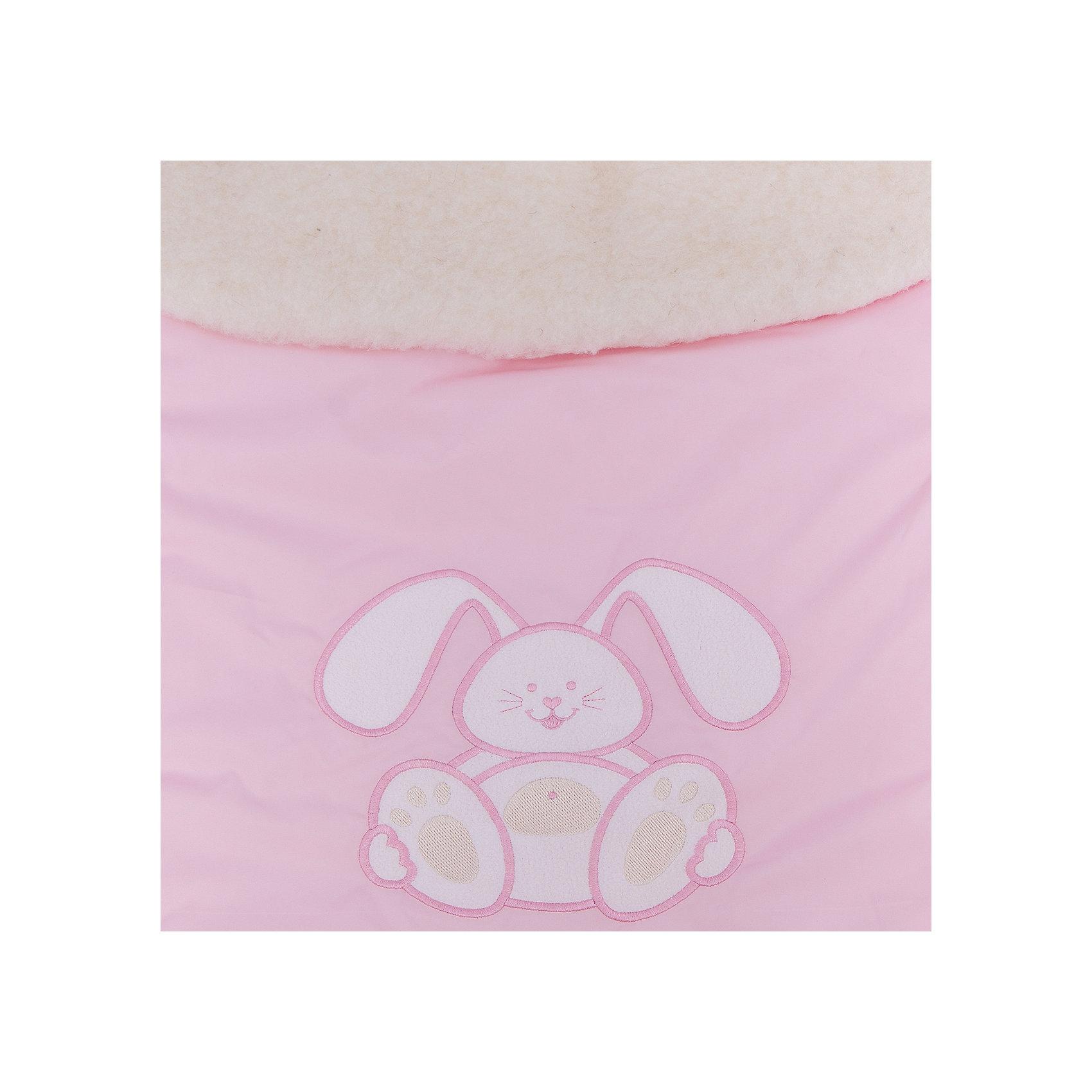 Конверт меховой Зайчик, Сонный гномик, розовый