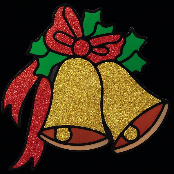 Наклейка на окно Колокольчики 14,5*14,5 смНовогодние наклейки на окна<br>Наклейка на окно Колокольчики 14,5*14,5 см превосходно подходит для праздничного оформления витрин, окон, зеркал и других элементов интерьера. Наклейка выполнена в виде 2 колокольчиков с бантиком, богато обсыпанных золотыми и красными блестками, она создаст новогоднюю атмосферу в любом помещении, превратив окно в сказочный витраж! <br><br>Дополнительная информация:<br>-Материалы: силикон, блестки<br>-Размер в упаковке: 14,5х0,5х14,5 см<br>-Вес в упаковке: 26 г<br>-Размер: 14,5х14,5 см<br><br>Наклейка на окно Колокольчики 14,5*14,5 см можно купить в нашем магазине.<br>Ширина мм: 145; Глубина мм: 5; Высота мм: 145; Вес г: 26; Возраст от месяцев: 84; Возраст до месяцев: 2147483647; Пол: Унисекс; Возраст: Детский; SKU: 4286712;