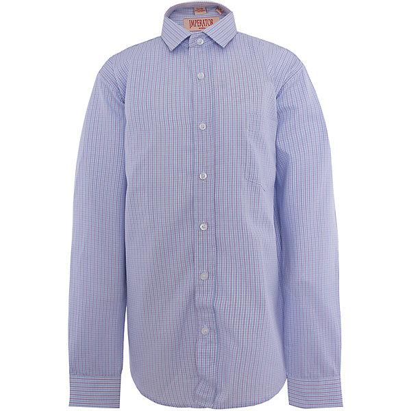 Рубашка для мальчика ImperatorБлузки и рубашки<br>Характеристики товара:<br><br>• цвет: голубой<br>• состав ткани: 65% хлопок, 35% полиэстер<br>• особенности: школьная, праздничная<br>• застежка: пуговицы<br>• рукава: длинные<br>• сезон: круглый год<br>• страна бренда: Российская Федерация<br>• страна изготовитель: Китай<br><br>Сорочка классического кроя для мальчика - отличный вариант практичной и стильной школьной одежды.<br><br>Накладной карман, свободный покрой, дышащая ткань с преобладанием хлопка - красиво и удобно.<br><br>Рубашку для мальчика Imperator (Император) можно купить в нашем интернет-магазине.<br>Ширина мм: 174; Глубина мм: 10; Высота мм: 169; Вес г: 157; Цвет: лиловый; Возраст от месяцев: 132; Возраст до месяцев: 144; Пол: Мужской; Возраст: Детский; Размер: 146/152,140/146,128/134,164/170,134/140,152/158,158/164,122/128; SKU: 4295947;