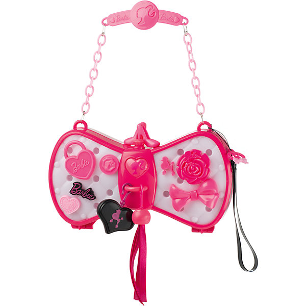 Волшебная сумочка Барби, HTIАксессуары<br>Волшебная сумочка Барби, HTI - это сумочка меняющая цвет так, чтобы он сочетался с одеждой!<br>Волшебная сумочка Барби приведет в восторг любую модницу! Сумочку в виде бабочки на цепочке можно повесить на руку или носить как клатч, имеется специальный ремешок. Если нажать на кнопку в форме сердца, то сумочка станет светиться и менять цвет, подстраиваясь под любой оттенок одежды. Память игрушки вмещает до 100 оттенков. Сумочку можно декорировать с помощью пластиковых аксессуаров, входящих в комплект (бантики, цветочки, сердечки и т.д.). Для этого нужно просто вставить понравившиеся украшение в специальные отверстия на сумочке. Сумочка непременно станет любимым аксессуаром вашей малышки. Порадуйте ее таким замечательным подарком!<br><br>Дополнительная информация:<br><br>- В наборе: сумочка, аксессуары, цепочка, ремешок<br>- Размер сумочки: 19,5 х 5 х 11 см.<br>- Высота цепочки: 12,5 см.<br>- Материал: пластик<br>- Батарейки: 3  типа ААА (входят в комплект)<br>- Размер упаковки: 37 х 35 х 5,7 см.<br>- Вес: 428 гр.<br><br>Волшебную сумочку Барби, HTI можно купить в нашем интернет-магазине.<br>Ширина мм: 370; Глубина мм: 350; Высота мм: 57; Вес г: 428; Возраст от месяцев: 36; Возраст до месяцев: 168; Пол: Женский; Возраст: Детский; SKU: 4301431;