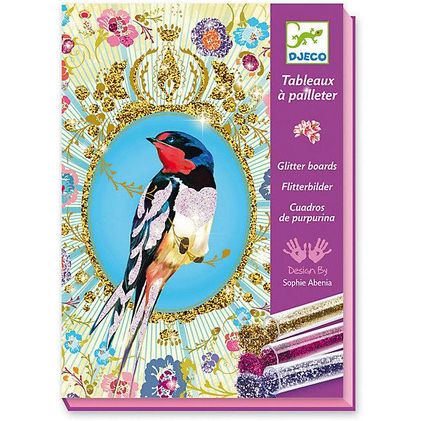 Набор для творчества «Блестящие птицы»Аппликации из бумаги<br>Набор для творчества «Блестящие птицы» - это удивительно красивая раскраска блестками.<br>Набор для творчества «Блестящие птицы» от французской компании Djeco (Джеко) поможет девочкам самостоятельно создать невероятно красивые мерцающие картины. Картинки разделены на сектора и пронумерованы. На клейкий слой с помощью стека насыпается нужный цвет блесток (в соответствии с его номером), и с помощью кисти блестки равномерно распределяются. Коробка, в которой продается набор - рабочая поверхность. Раскрашивать картинку лучше в ней, рабочее место останется чистым. Коробочка набора имеет специальное отверстие для того, чтобы лишние блестки можно было ссыпать обратно в баночку. В результате кропотливой работы девочки получат 4 оригинальные открытки с изображением сказочных птичек в саду, все элементы будут блестеть и переливаться. Такие картинки украсят детскую комнату, станут замечательным подарком друзьям и родственникам. Набор для творчества «Блестящие птицы» развивает мелкую моторику рук, воображение, усидчивость и творческие способности.<br><br>Дополнительная информация:<br><br>- В наборе: 4 шаблона рисунков (15х21 см) на клейкой основе, 6 тюбиков с разноцветными блёстками, кисть, специальный стек, пошаговая инструкция<br>- Размер упаковки: 23 х 17 х 4 см.<br>- Вес: 450 гр. <br><br>Набор для творчества «Блестящие птицы» можно купить в нашем интернет-магазине.<br>Ширина мм: 230; Глубина мм: 170; Высота мм: 40; Вес г: 450; Возраст от месяцев: 84; Возраст до месяцев: 156; Пол: Унисекс; Возраст: Детский; SKU: 4305791;