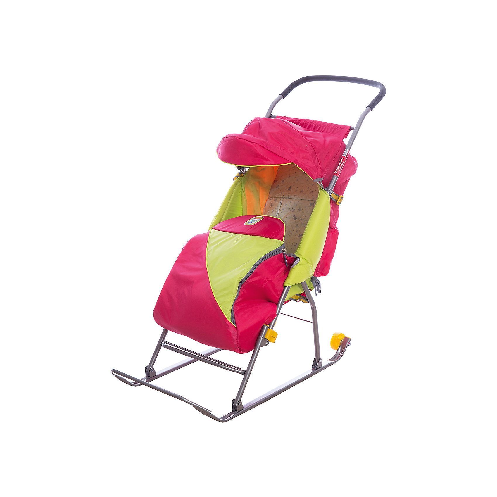 Санки-коляска Тимка 2 Комфорт, малиновый (Ника)