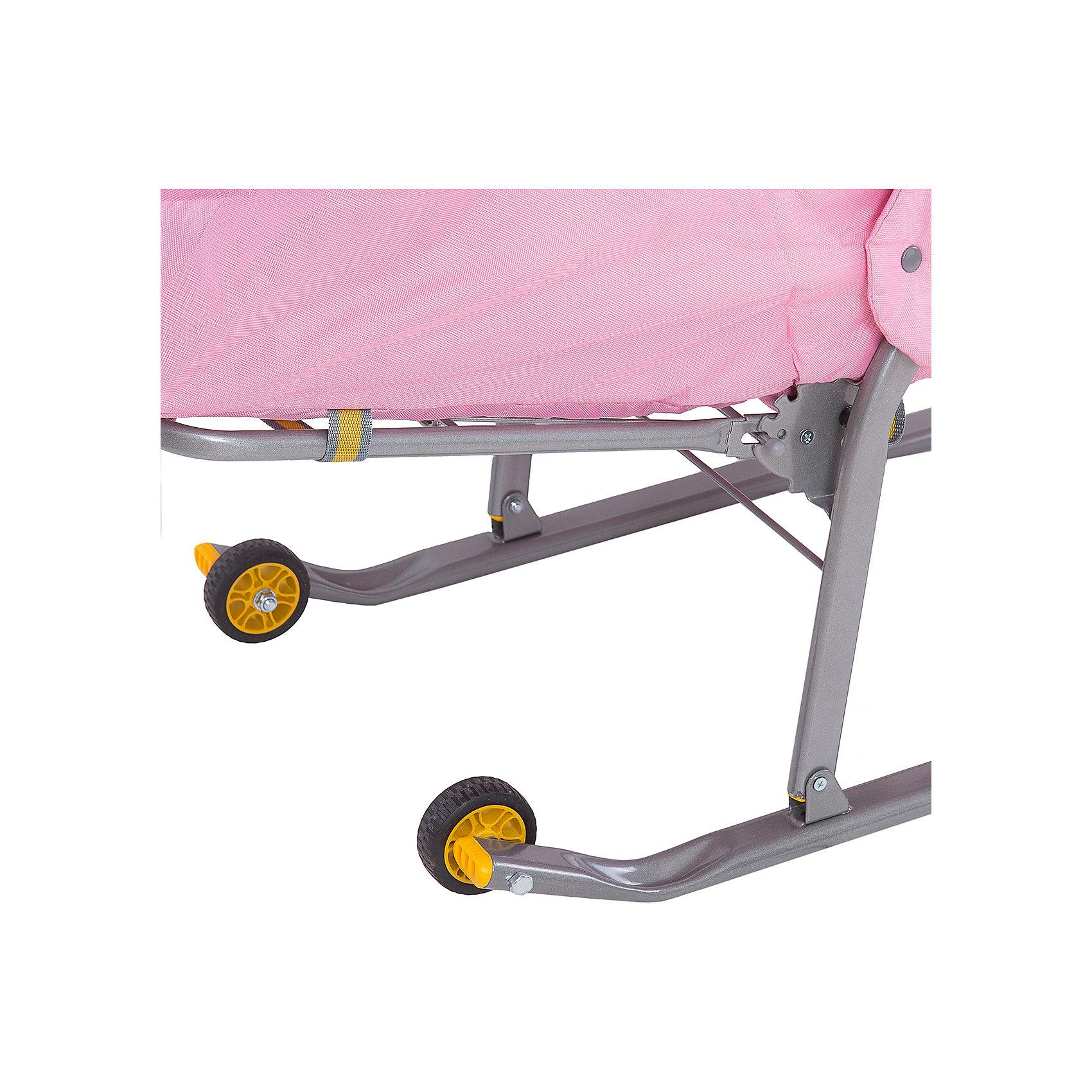 Санки-коляска Ника детям 6, Снегири на ветке, розовый