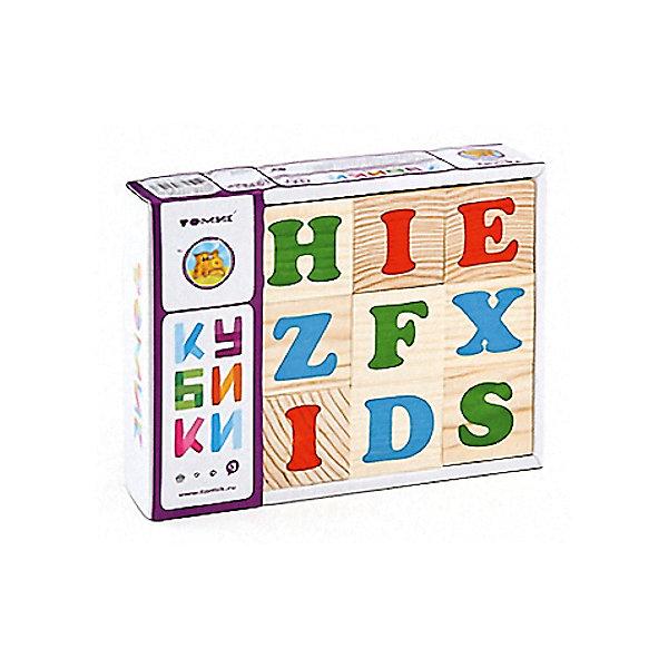 Томик Деревянные кубики Томик Английский алфавит, 12 шт кубики томик домашние животные