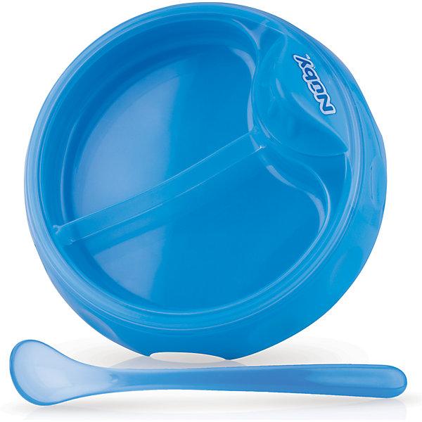 Nuby Двухсекционная тарелка с ложкой, Nuby, nuby nuby набор ложек синие