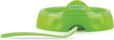 Двухсекционная тарелка с ложкой, Nuby, зеленый, артикул:4318195 - Кормление малыша