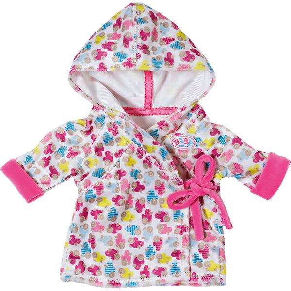 Халат с капюшоном, BABY bornОдежда для кукол<br>Характеристики:<br><br>• тип игрушки: одежда для кукол;<br>• возраст: от 3 лет;<br>• размер: 28х28 см;<br>• цвет: розовый;<br>• материал: текстиль;<br>• комплектация:  халат;<br>• бренд: Zapf Creation;<br>• страна производителя: Китай.<br><br>Халат с капюшоном, BABY born прекрасно дополнит красивый гардероб пупса Baby Born. Халат мягкий и приятный на ощупь, расцветка очень веселая и яркая с изображением птичек на колесах.<br><br>После водных процедур куколке будет удобно носить этот халатик, ведь он на завязочках. Халат выглядит как настоящая одежда для ребенка только маленького размера. Он сшит из качественного материала безопасного для здоровья детей.<br><br>Халат с капюшоном, BABY born можно купить в нашем интернет-магазине<br>Ширина мм: 276; Глубина мм: 246; Высота мм: 60; Вес г: 94; Возраст от месяцев: 36; Возраст до месяцев: 60; Пол: Женский; Возраст: Детский; SKU: 4319375;