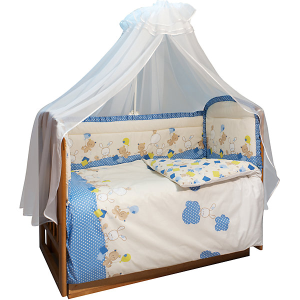 Soni Kids Комплект в кроватку 7 предметов Soni kids, В уютных облачках, голубой