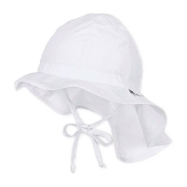 Шапка Sterntaler для девочкиШапочки<br>Характеристики товара:<br><br>• состав ткани: 100% хлопок<br>• сезон: лето<br>• застёжка: завязки<br>• страна бренда: Германия<br><br>Шапочка однотонного цвета дополнена полями для защиты глаз от солнечных лучей. Сзади удлинённый фартук, прикрывающий шею и часть спины и плеч. Изготовлена из дышащей и натуральной ткани.