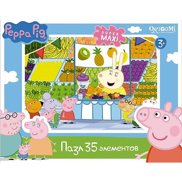 Пазл 35 MAXI деталей, Свинка ПеппаПазлы для малышей<br>Пазл 35 MAXI деталей, Свинка Пеппа - это увлекательный пазл с крупными яркими деталями.<br>Пазл создан по мотивам мультсериала о приключениях симпатичной маленькой свинки Пеппы и ее друзей. В нем 35 больших деталей, поэтому малыш без труда сможет собрать картинку, ориентируясь на изображение, которое имеется на коробке. Собрав пазл, ребенок получит красивую картинку, на которой Свинка Пеппа и ее друзья оказываются в супермаркете во время фруктового дня. Эта головоломка позволит ребенку развить мелкую моторику рук, терпение, усидчивость, зрительную память и научит мыслить логически.<br><br>Дополнительная информация:<br><br>- В наборе: 35 MAXI детали<br>- Размер собранного пазла: 33х47 см.<br>- Материал: картон<br>- Размер коробки: 29x3,8x19 мм.<br>- Вес: 226 гр.<br><br>Пазл 35 MAXI деталей, Свинка Пеппа можно купить в нашем интернет-магазине.<br>Ширина мм: 290; Глубина мм: 38; Высота мм: 190; Вес г: 226; Возраст от месяцев: 36; Возраст до месяцев: 96; Пол: Унисекс; Возраст: Детский; Количество деталей: 35; SKU: 4335013;