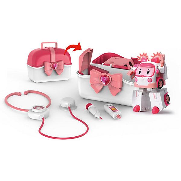 Кейс с трансформером Эмбер 12,5 см, Робокар ПолиНаборы доктора и ветеринара<br>Характеристики:<br><br>• Предназначение: для сюжетно-ролевых и подвижных игр<br>• Пол: для девочек<br>• Коллекция: Робокар Поли и его друзья<br>• Материал: пластик<br>• Комплектация: машинка, кейс, стетоскоп, шприц, градусник<br>• Световые эффекты<br>• Робот трансформируется в машинку<br>• У машини инерционный механизм<br>• Вес: 1 кг 087 г<br>• Размеры упаковки (Д*В*Ш): 13*22*36 см<br>• Упаковка: картонная коробка с блистером<br>• Особенности ухода: сухая или влажная чистка<br><br>Кейс с трансформером Эмбер, 12,5 см, Робокар Поли – этот  набор производителем которого является торговый бренд Silverlit, специализирующийся на выпуске высокотехнологических игрушек. Машинка в образе Эмбер из мультсериала Робокар Поли и его друзья выполнена из ударопрочного и нетоксичного пластика. В комплекте предусмотрены медицинские инструменты: стетоскоп, шприц и градусник. Машинка в три приема может трансформироваться в робота и наоборот. <br><br>У игрушки предусмотрен инерционный механизм, во время движения машинки начинает светиться мигалка. Машинка Поли и аксессуары упакованы в чемоданчик, поэтому набор удобно брать с собой в поездки и путешествия. Подвижные или сюжетно-ролевые игры с машинками  будут способствовать развитию координации движений, фантазии и воображения, а также позволят воспроизвести наиболее понравившиеся сюжеты с любимыми героями.<br><br>Кейс с трансформером Эмбер, 12,5 см, Робокар Поли можно купить в нашем интернет-магазине.<br>Ширина мм: 356; Глубина мм: 216; Высота мм: 133; Вес г: 1087; Возраст от месяцев: 36; Возраст до месяцев: 84; Пол: Женский; Возраст: Детский; SKU: 4345026;