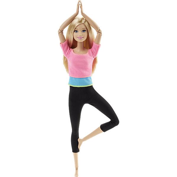Кукла Безграничные движения в розовом, BarbieКуклы<br>Кукла Безграничные движения в розовом, Barbie, порадует всех юных любительниц Барби своим новым образом и удивит новыми игровыми возможностями. Красавица Барби ведет активный образ жизни, каждый день занимается спортом и поддерживает себя в прекрасной форме. У нее длинные светлые волосы, которые можно укладывать в различные прически и стильный спортивный наряд, подчеркивающий ее стройность - розовая футболка и черные леггинсы. Как и все куклы новой линейки Безграничные движения, Барби в розовом отличается невиданными ранее возможностями и удивительной гибкостью. Теперь она может принять самые сложные позы - скакать на лошади или кататься на велосипеде, играть на гитаре, заниматься гимнастикой, сидеть в позе лотоса и даже встать на мостик. Такая свобода движений стала возможной благодаря 22 шарнирам в туловище куколки: шея, верхняя часть рук, локти, запястья, торс, бедра, ноги над коленями, колени и щиколотки. Гимнастика и йога, балет или танцы - новой Барби доступны самые закрученные сюжеты и самые сложные позы.<br><br>Дополнительная информация:<br><br>- Материал: пластик, текстиль. <br>- Высота куклы: 29 см.<br>- Размер упаковки: 33 x 17 x 7 см.<br>- Вес: 0,28 кг.<br><br>Куклу Безграничные движения в розовом, Barbie, можно купить в нашем интернет-магазине.<br>Ширина мм: 330; Глубина мм: 165; Высота мм: 68; Вес г: 249; Возраст от месяцев: 36; Возраст до месяцев: 72; Пол: Женский; Возраст: Детский; SKU: 4349902;