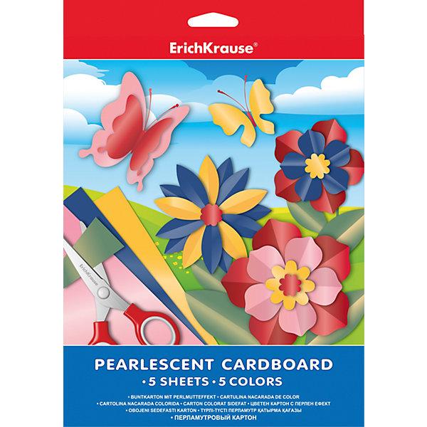 Erich Krause Перламутровый картон А4 (5 листов, 5 цветов) бумага herlitz 20х28 10 листов 10 цветов для поделок