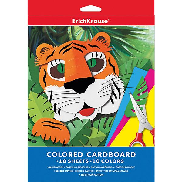 Цветной картон А4 (10 листов, 10 цветов)Цветная бумага и картон<br>Цветной картон - неизменный атрибут детского творчества в садах, дома, в школе. Из него можно создать множество удивительных поделок, аппликаций, открыток. <br><br>Дополнительная информация:<br><br>- Материал: картон.<br>- Формат: А4.<br>- Мелованный.<br>- Количество листов: 10.<br>- Количество цветов: 10.<br><br>Цветной картон А4 (10 листов, 10 цветов), Erich Krause, можно купить в нашем магазине.<br>Ширина мм: 210; Глубина мм: 280; Высота мм: 5; Вес г: 150; Возраст от месяцев: 36; Возраст до месяцев: 108; Пол: Унисекс; Возраст: Детский; SKU: 4379667;