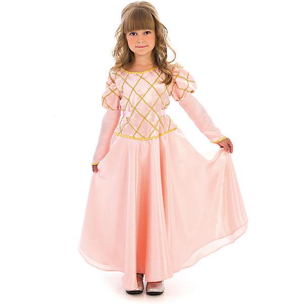 Карнавальный костюм для девочки Принцесса (чайная роза), ВестификаКарнавальные костюмы для девочек<br>Карнавальный костюм Принцесса предназначен для самых красивых и самых капризных маленьких принцесс. Костюм состоит из красивого пышного бального платья и подъюбника с несколькими слоями фатина, который создает пышность и придает юбке дополнительный объем. Ворот и рукава оторочены золотой бейкой, само платье украшено золотой тесьмой. По ширине платье регулируется поясом, который можно завязать на спине в красивый бант. Платье застегивается на спине на липучки.<br><br>Дополнительная информация:<br><br>Комплектация:<br>Платье из тафеты<br>Подъюбник из бязи и фатина<br>Ткани:<br>Крепсатин (100% полиэстер)<br>Фатин (100% полиэстер)<br>Бязь (100% хлопок)<br><br>Карнавальный костюм для девочки Принцесса (чайная роза), Вестифика можно купить в нашем магазине.<br>Ширина мм: 236; Глубина мм: 16; Высота мм: 184; Вес г: 340; Возраст от месяцев: 72; Возраст до месяцев: 84; Пол: Женский; Возраст: Детский; Размер: 116/122; SKU: 4389261;