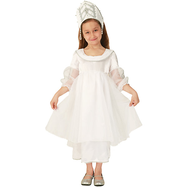Карнавальный костюм для девочки Снежинка сверкающая, ВестификаКарнавальные костюмы для девочек<br>Детский карнавальный костюм Снежинка сверкающая произведен в России компанией Вестифика. Роскошное белое платье из крепсатина и органзы отлично дополняет кокошник оригинального покроя. Прозрачные рукава красиво драпируются при движении.<br><br>Дополнительная информация:<br><br>Комплектация:<br>Платье<br>Кокошник<br>Ткани:<br>Крепсатин (100% полиэстер)<br>Органза (100% полиэстер)<br>Стрейч-парча (95% полиэстер, 5% эластан)<br><br>Карнавальный костюм для девочки Снежинка сверкающая, Вестифика можно купить в нашем магазине.<br>Ширина мм: 236; Глубина мм: 16; Высота мм: 184; Вес г: 200; Возраст от месяцев: 72; Возраст до месяцев: 84; Пол: Женский; Возраст: Детский; Размер: 116/122,104/110; SKU: 4389290;