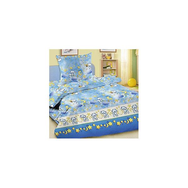Letto Детское постельное белье 3 предмета Letto, Лунные мишки, синий (простынь на резинке) letto детское постельное белье 3 предмета letto лунные мишки синий простынь на резинке