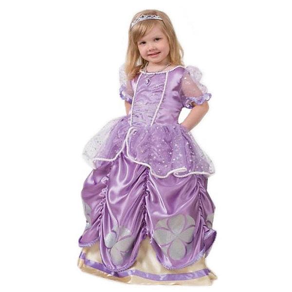 Карнавальный костюм София Прекрасная, БатикДень рождения Принцессы<br>Каждая девочка мечтает стать сказочной принцессой. Ваша малышка придет в восторг от этого прекрасного наряда. Все детали костюма отлично проработаны что позволяет создать органичный и узнаваемый образ принцессы Софии. Позвольте девочке почувствовать себя королевой вечера и получить настоящее удовольствие от самого волшебного праздника в году! Костюм выполнен из высококачественных экологичных материалов, в производстве ткани использованы только безопасные, гипоаллергенные красители.<br><br>Дополнительная информация:<br><br>- Материал: текстиль, пластик.<br>- Цвет: сиреневый. <br>- Комплектация: платье, корона, медальон.<br>- Декоративные элементы: тесьма, рюши.<br>- Параметры для размера 26:<br>- обхват груди: 52 см.<br>- рост: 104 см.<br><br><br>Карнавальный костюм София Прекрасная, Батик, можно купить в нашем магазине.<br>Ширина мм: 500; Глубина мм: 50; Высота мм: 700; Вес г: 600; Возраст от месяцев: 72; Возраст до месяцев: 96; Пол: Женский; Возраст: Детский; Размер: 26,28; SKU: 4412745;