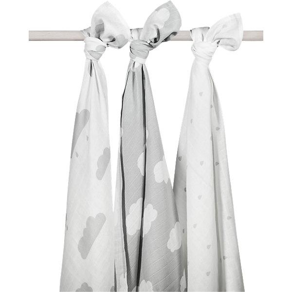 jollein Комплект муслиновых пеленок 115х115 см, 3 шт, Clouds Grey (Серые облака) говорим с пеленок