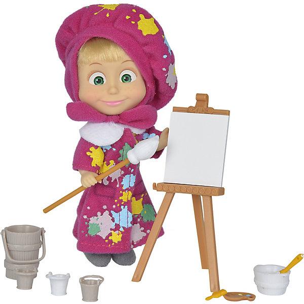 Simba Мини-кукла Simba Маша и Медведь Маша в одежде художницы с набором для рисования, 12 см цена