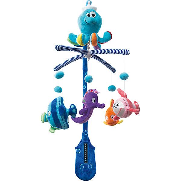 Мобиль Океан,  WeeWiseИгрушки для новорожденных<br>Мобиль Океан, WeeWise<br><br>Характеристики:<br><br>• Цвет: синий<br>• Количество мелодий: 5<br>• Возраст: от 0 месяцев<br>• Размер игрушки: 120 мм<br>• Материал: текстиль<br><br>Мобиль с яркими животными сделан из мягкого, бархатистого текстиля, который очень приятен на ощупь. Пять успокаивающих мелодий помогут малышу обрести крепкий сон. Кроме этого в комплекте есть термометр, сделанный из безопасного материала, который не навредит малышу. Он сможет показывать температуру комнаты вблизи малыша. Крепление на кроватку очень надежное и гарантированно не упадет, даже вовремя активной игры.<br><br>Мобиль Океан, WeeWise можно купить в нашем интернет-магазине.<br>Ширина мм: 565; Глубина мм: 365; Высота мм: 345; Вес г: 794; Возраст от месяцев: 0; Возраст до месяцев: 8; Пол: Унисекс; Возраст: Детский; SKU: 4443034;