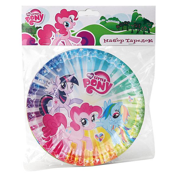 Набор тарелок Мой маленький пони (6 шт)My little Pony<br>С яркой одноразовой посудой любой праздник станет еще веселее! Тарелки с изображением любимых героинь My little Pony (Май литл Пони) обязательно порадуют детей, их удобно брать с собой на природу, в школу, детский сад или же использовать дома. Тарелки из плотного картона удобны и безопасны в использовании, они не бьются, поэтому, подходят даже для самых маленьких детей. <br><br>Дополнительная информация:<br><br>- Материал: картон.<br>- Размер: d-18 см. <br>- 6 штук в комплекте. <br><br>Набор тарелок Мой маленький пони (6 шт), можно купить в нашем магазине.<br>Ширина мм: 200; Глубина мм: 240; Высота мм: 20; Вес г: 70; Возраст от месяцев: 36; Возраст до месяцев: 144; Пол: Женский; Возраст: Детский; SKU: 4444315;