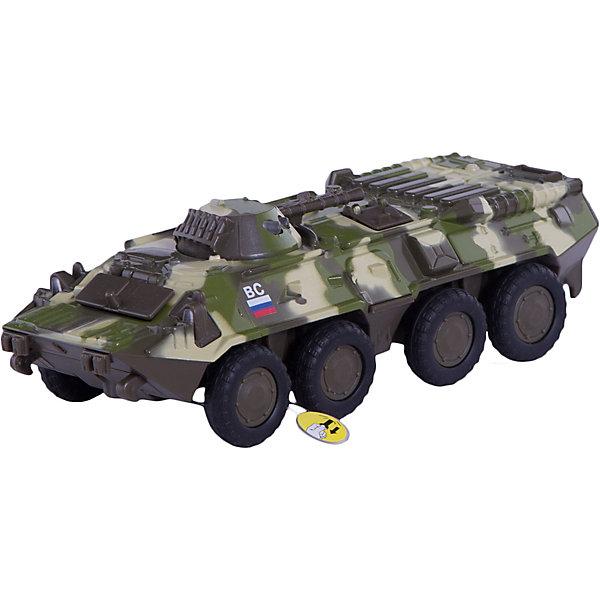 Машина БТР, с открывающимся люком, ТЕХНОПАРКВоенный транспорт<br>Характеристики:<br><br>• тип игрушки: машина;<br>• возраст: от 3 лет;<br>• размер: 10х12х25 см;<br>• тип батареек: 3 х AG3 / LR41;<br>• наличие батареек: входят в комплект;<br>• материал: металл, пластик;<br>• бренд: Технопарк;<br>• страна производителя: Китай.<br>• Внимание! Товар, нет возможности выбрать товар конкретной расцветки. При заказе нескольких штук возможно получение одинаковых.<br><br>Машина Технопарк «БТР, с открывающимся люком» - эта модель займет достойное место в любой коллекции. Машина  станет любимой игрушкой вашего малыша. Игрушка представляет уменьшенную копию знаменитой отечественной машины БТР-80 и имеет высокую детализацию. Машина оснащена поворачивающейся на 360° башней и поднимающейся пушкой. Люки БТР открываются.<br> При нажатии на башню включается подсветка и звуковое сопровождение. Прорезиненные колеса машины обеспечивают надежное сцепление с любой поверхностью. Ваш ребенок будет часами играть с этой машиной, придумывая различные истории.<br>Тематические игры с интересными сюжетами разбудят воображение ребёнка, а манипуляции с игрушкой потренируют мелкую моторику пальцев рук. Масштабные модели от компании «Технопарк» отличаются качественными ударопрочными материалами, продлевающими долговечность изделия тщательным исполнением со вниманием ко всем деталям, и имеют требуемые сертификаты соответствия для детских игрушек.<br>Машину Технопарк «БТР, с открывающимся люком» можно купить в нашем интернет-магазине.<br>Ширина мм: 250; Глубина мм: 100; Высота мм: 120; Вес г: 330; Возраст от месяцев: 36; Возраст до месяцев: 192; Пол: Мужской; Возраст: Детский; SKU: 4499284;