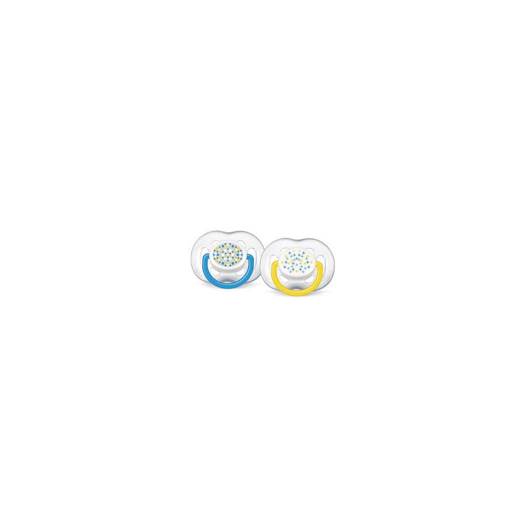 PHILIPS AVENT Силиконовая пустышка Free Flow Design, 6-18 мес., 2 шт., AVENT, голубой/желтый