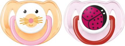 Силиконовая пустышка Домашние животные, 6-18 мес., 2 шт., AVENT, оранжевый/розовый, артикул:4510857 - Уход и гигиена