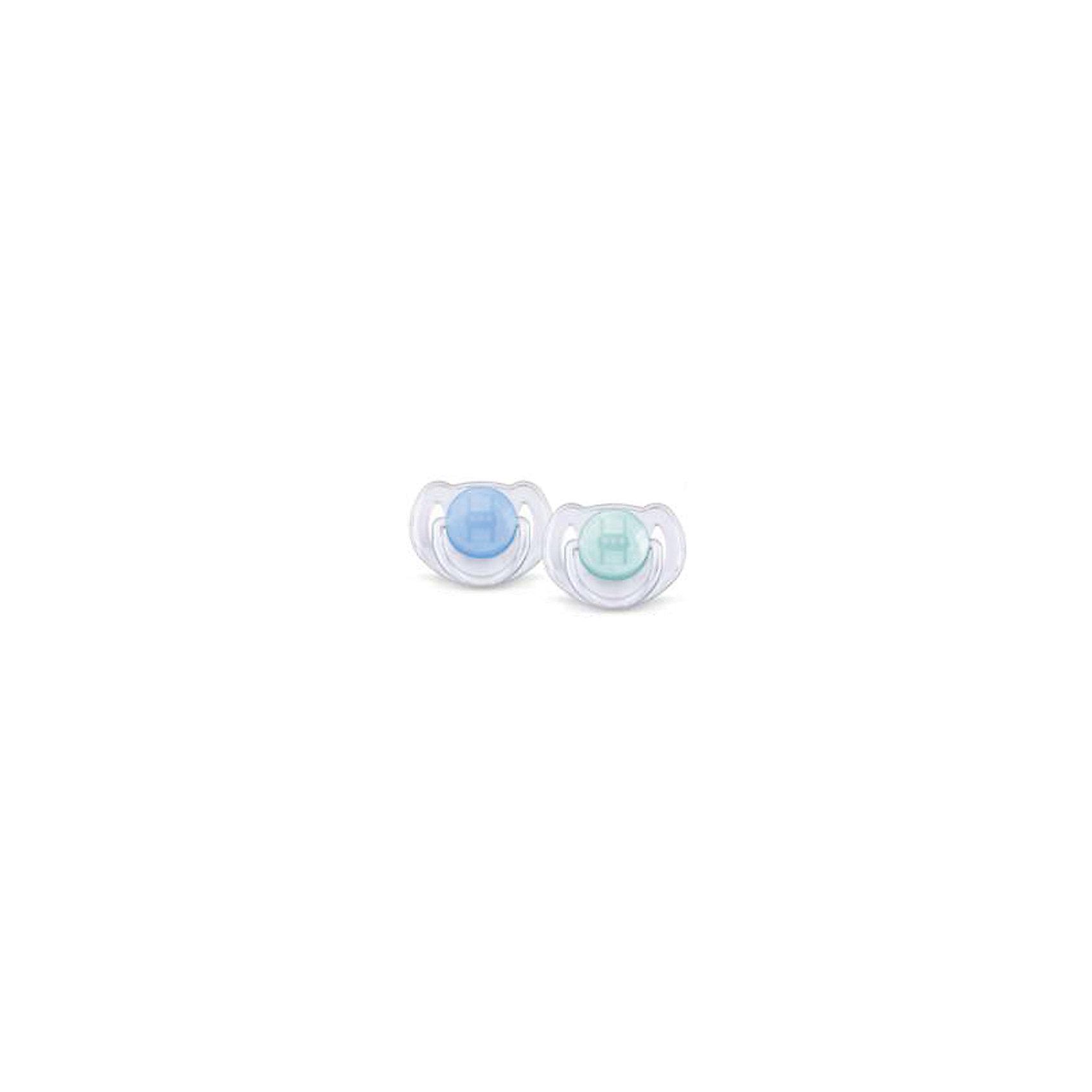 PHILIPS AVENT Силиконовая пустышка Классика, 6-18 мес., 2 шт., AVENT, голубой/зеленый