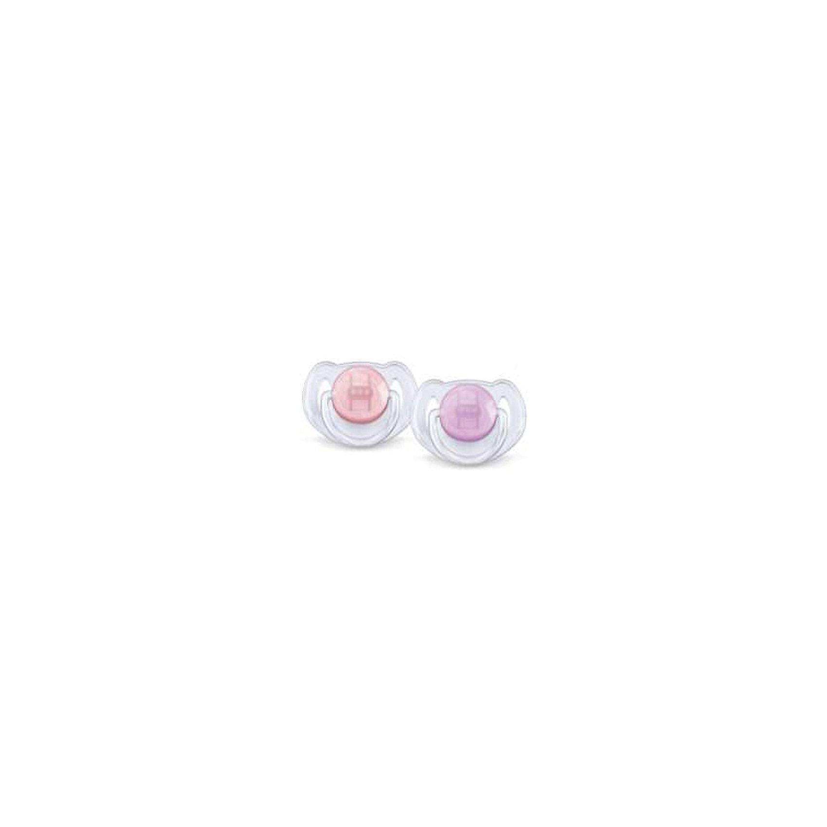PHILIPS AVENT Силиконовая пустышка Классика, 6-18 мес., 2 шт., AVENT, розовый/сиреневый