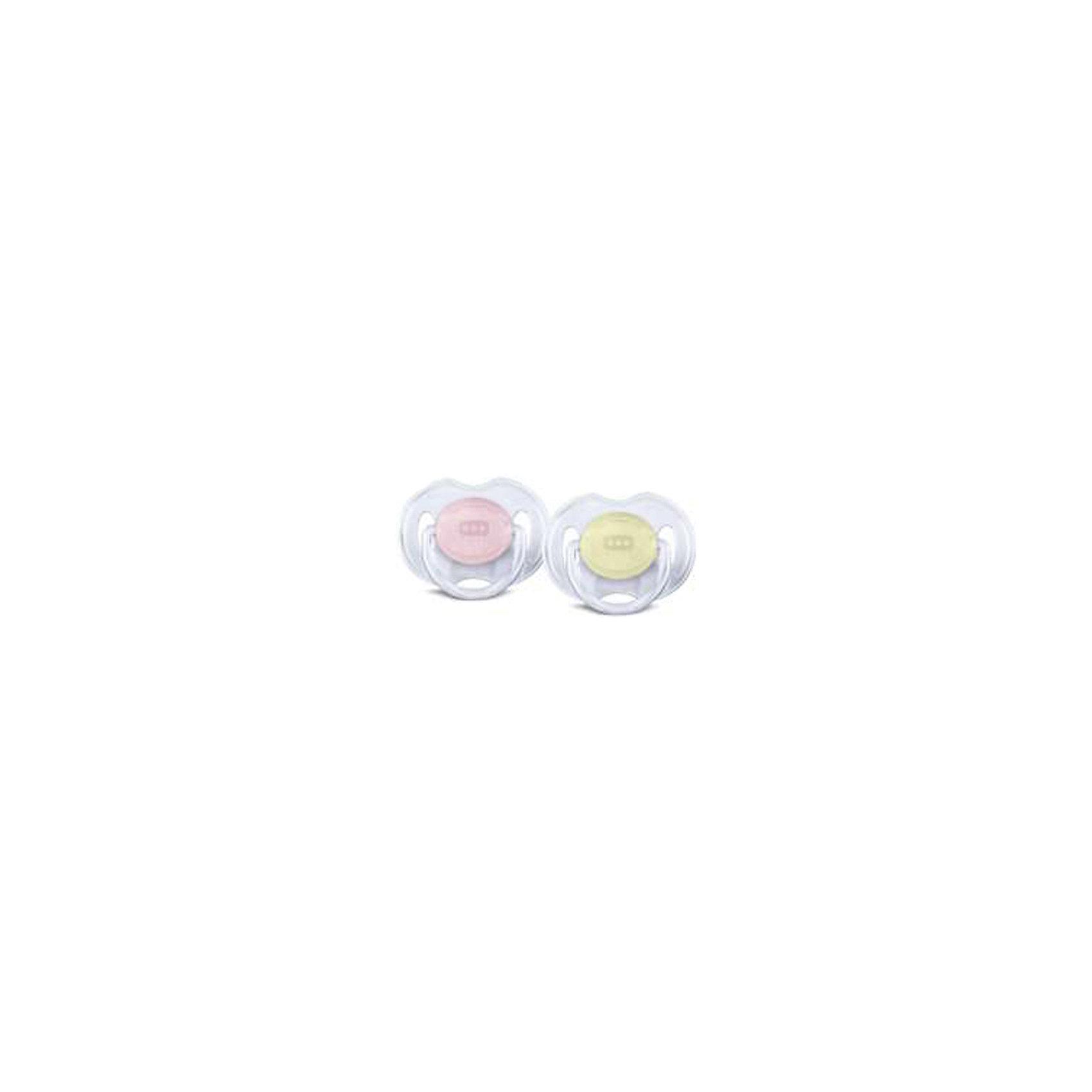 PHILIPS AVENT Силиконовая пустышка Классика, 0-6 мес., 2 шт., AVENT, розовый/желтый